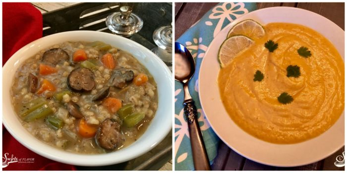 Mushroom Barley Soup and Curried Cauliflower Soup