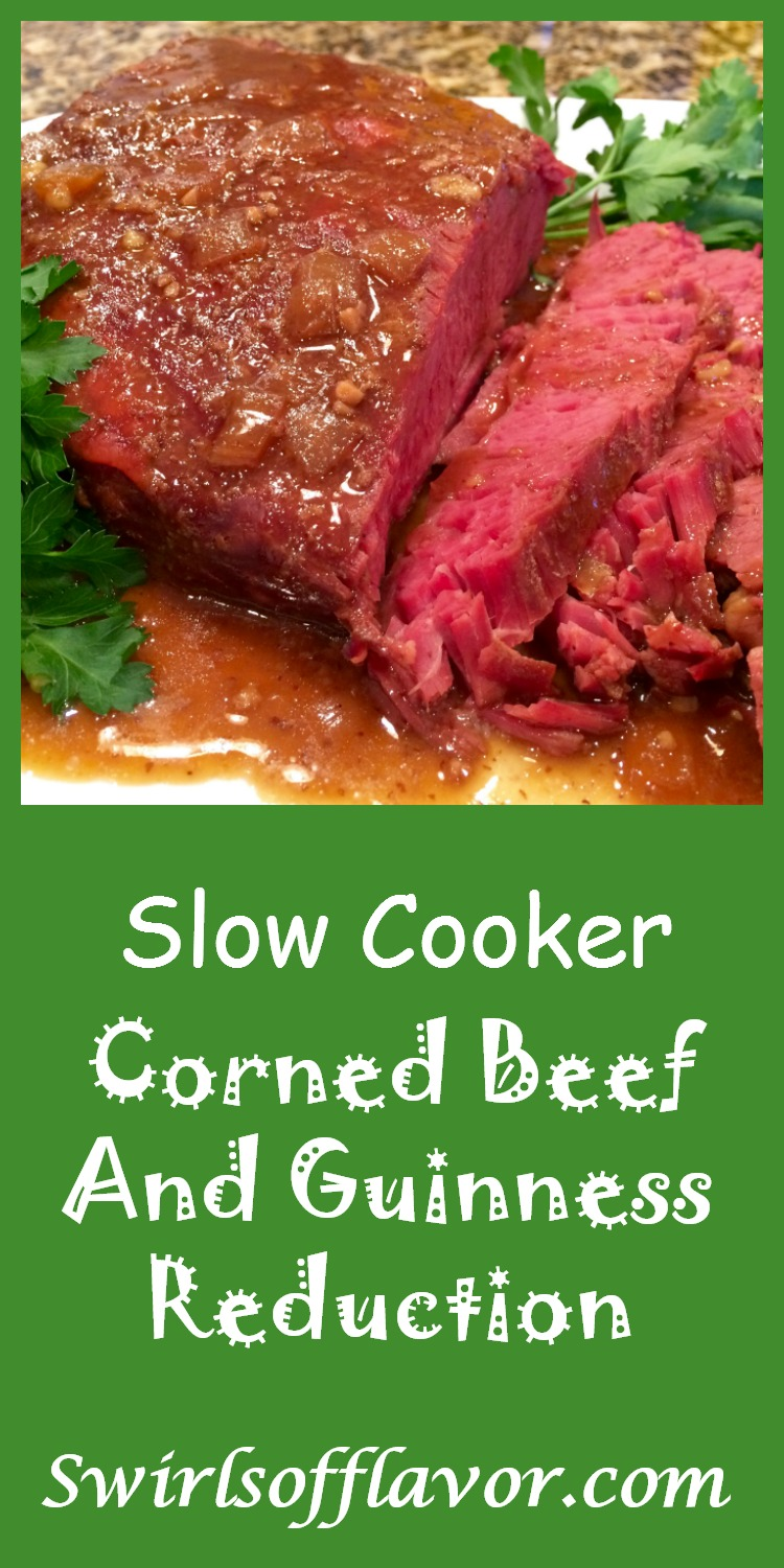 Let your slow cooker do the work with Slow Cooker Corned Beef & Guinness Reduction. The flavors of Guinness, brown sugar and horseradish mustard will simmer in your slow cooker and infuse your corned beef! #crockpot #cornedbeef #StPatricksDay #dinner #holiday #easyrecipe #slowcooker #cabbage #swirlsofflavor