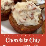 Banana muffins with frosting and text overlay