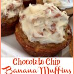 Banana Muffins with cream cheese frosting and pecans