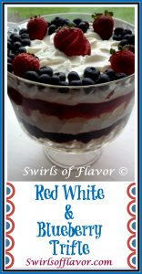 Red White & Blueberry Trifle is the perfect no-bake dessert filled with a light creamy pudding, fresh berries and angel food cake! Memorial Day | picnics | dessert | no-bake | berries |strawberry | blueberry | angel food cake | trifle | red white and blue dessert