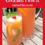glass of Belmont Jewle punch with fresh mint and text overlay