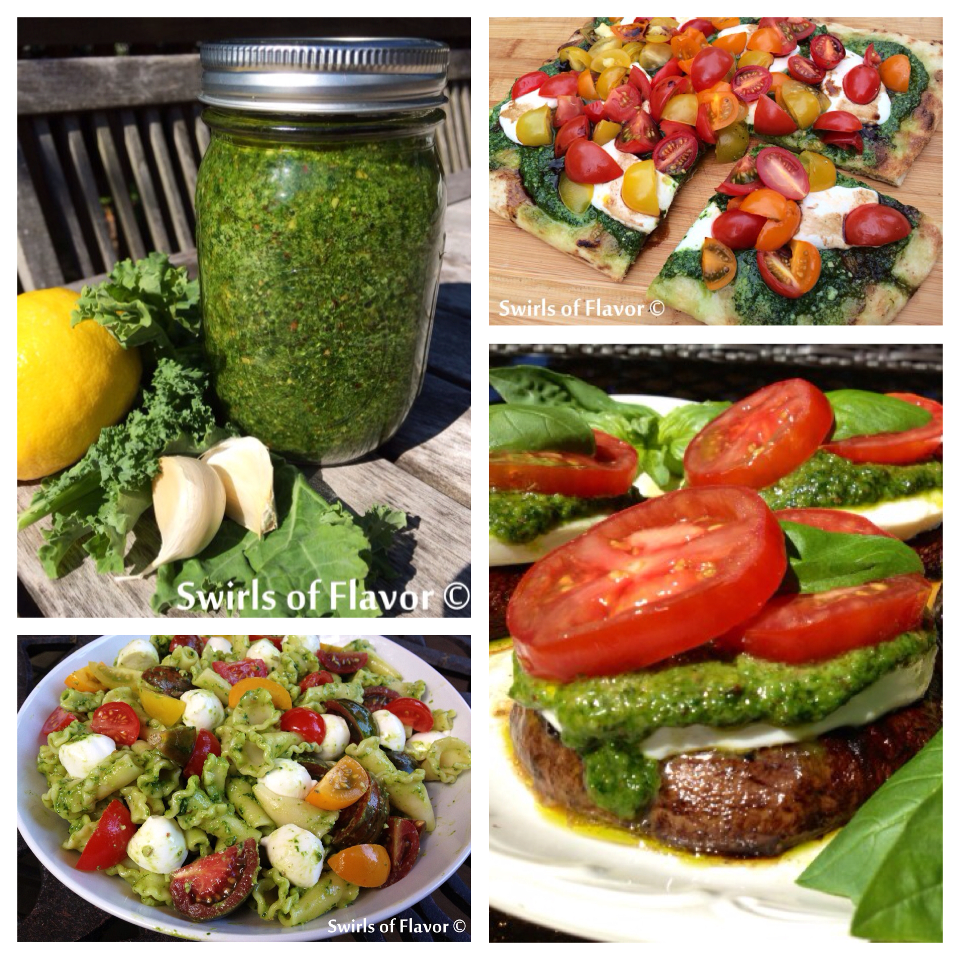 Everyone loves pesto and a Kale Pesto is a great new flavorful twist on the traditional! Toss it in a pasta salad, spread it on a pizza, or top a grilled portobello mushroom! The possibilities are endless! kale | pesto | pizza | pasta | salad | vegetarian