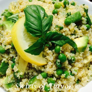 Add Lemon Basil Avocado Quinoa to your next meal for a punch of nutrition along with deliciousness. A quick and easy side dish that will compliment any meal. #quinoa #avocado #sidedish #easyrecipe #familyfavorite #swirlsofflavor