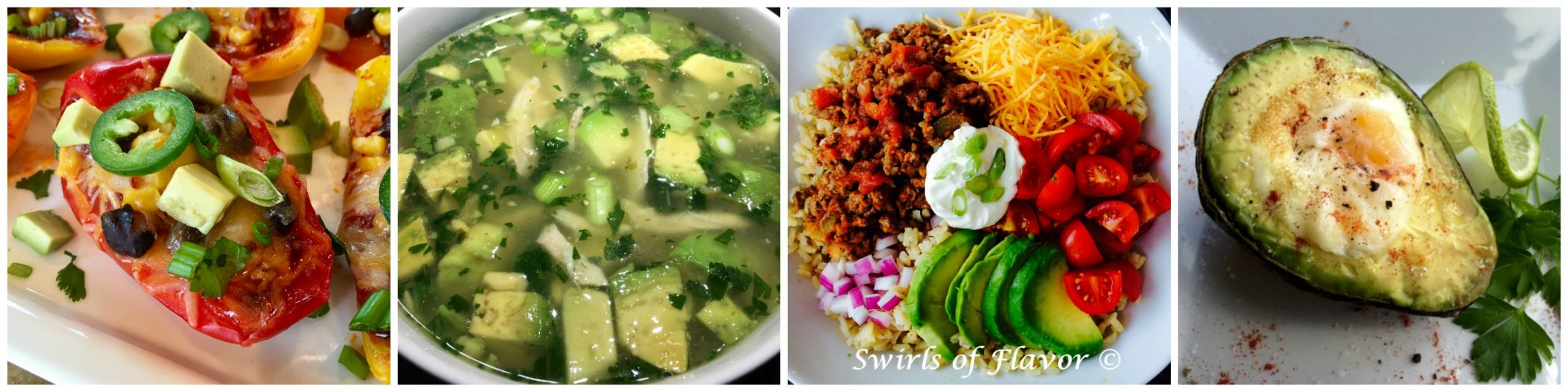 Left to right: Nacho Peppers; Avocado Chicken Soup; Taco Bowl; Baked Egg in Avocado