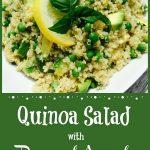 quinoa with peas and avocado in white bowl