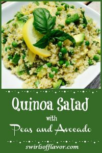 quinoa with peas and avocado in white bowl