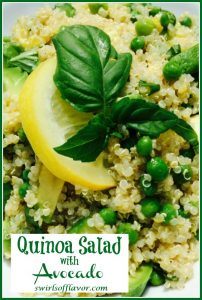 quinoa salad with avocado and peas