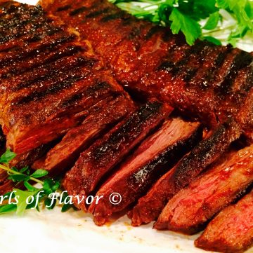 Grilled Skirt Steak with Cocoa Spice Rub is seasoned withspices and a hint of cocoa and cooked to perfection!