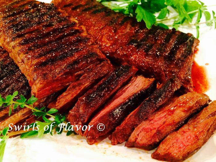 Grilled Skirt Steak with Cocoa Spice Rub is seasoned with spices and a hint of cocoa and cooked to perfection!