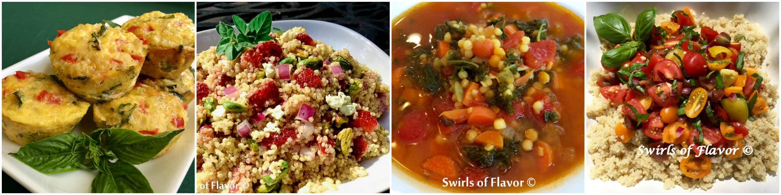 Left to Right: Quinoa Egg Muffins; Strawberry Quinoa; Quinoa Lentil Bowl; Tomato Quinoa