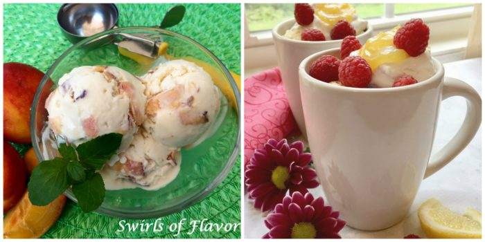 Peach Ice Cream and Raspberry Mug Cake