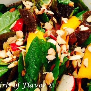 Almond Mango Baby Romaine Salad with Citrus Vinaigrette