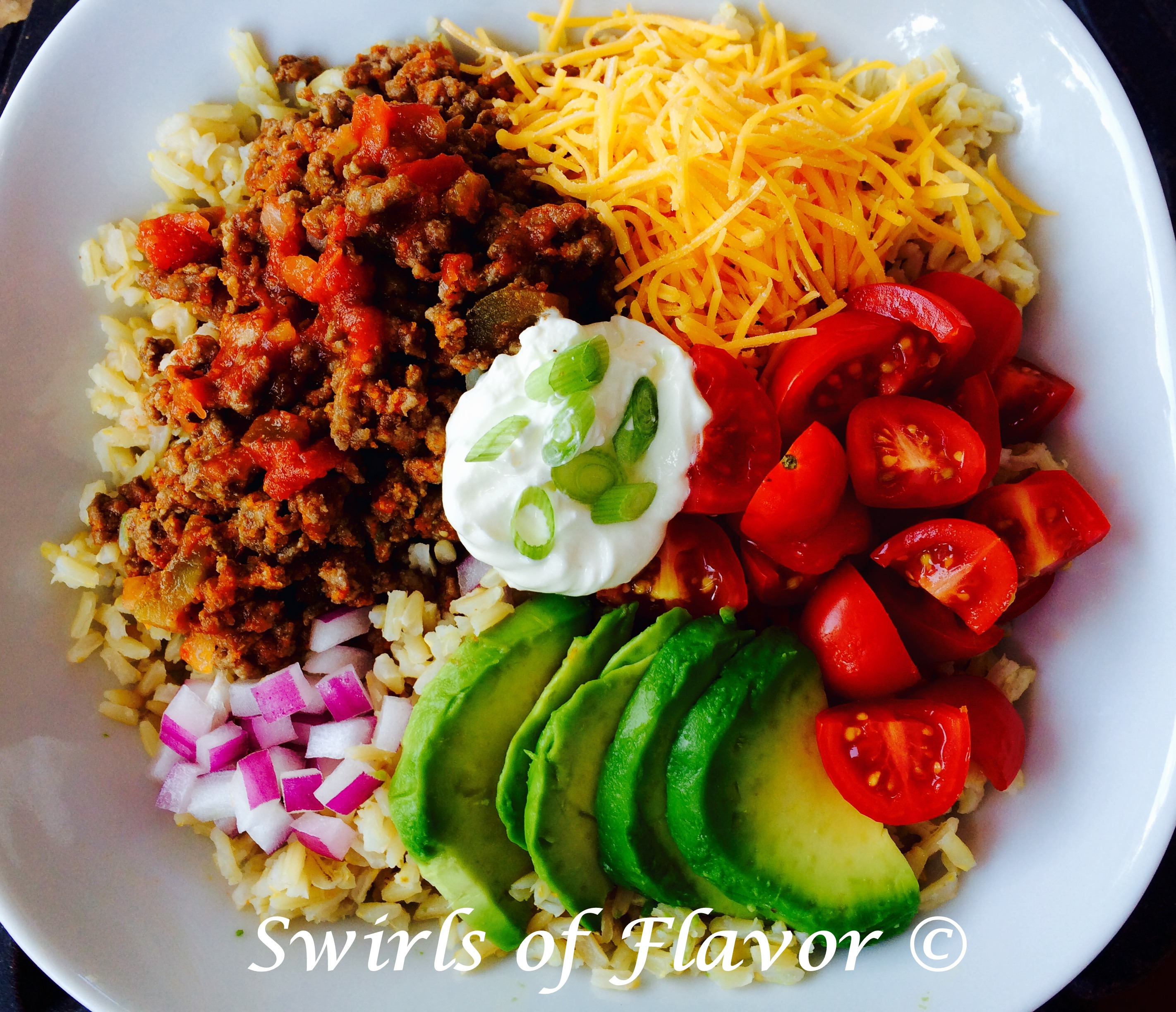 brown rice bowl with taco toppings