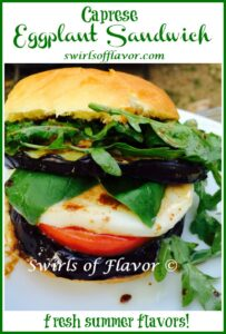 eggplant sandwich with text overlay