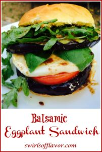 eggplant, tomato and mozzarella on a roll with text overlay