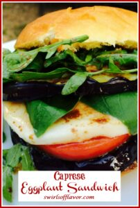 caprese eggplant sandwich on a roll with text overlay