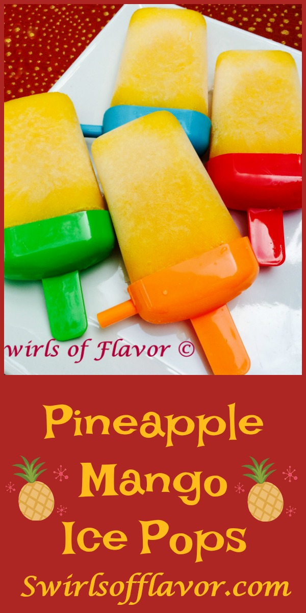 Pineapple Mango Ice Pops combine the sweet buttery mango with the tart mouthwatering pineapple and a hint of lime for a tropical frozen treat. Fun for kids | mango | pineapple | popsicles | frozen dessert | dessert | tropical fruit | summer  dessert | #swirlsofflavor | easy recipe