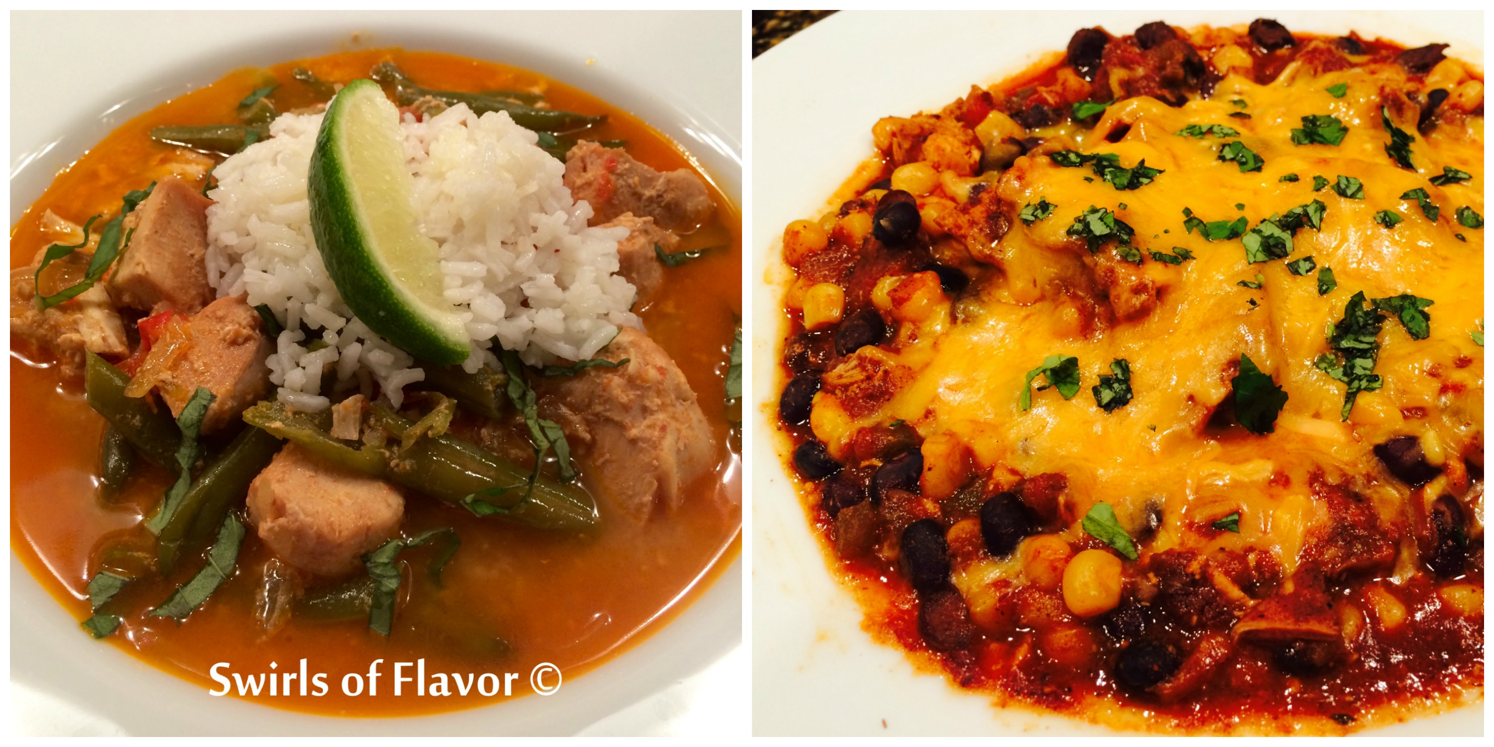 Coconut Curry Chicken and Chicken Chili