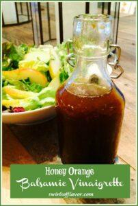 Honey Orange Balsamic Vinaigrette in cruet