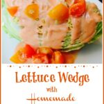 Wedge of iceberg lettuce with creamy dressing and tomatoes