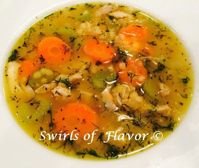 Chicken Lentil Soup is an easy recipe for a weeknight dinner. Made with chicken thighs and filled with fresh vegetables and lentils, your family will love this updated version of the classic comfort food, homemade chicken soup! #thighs #lentils #carrots #celery #fresh dill #easy recipe #comfort food #chickenthighs #chickensoup #homemadesoup #swirlsofflavor