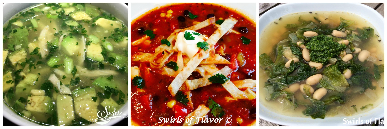 three bowls of soups