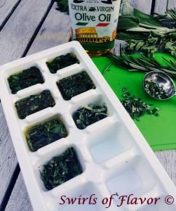 Freezing Herbs in Oil vertical