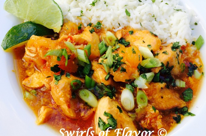 Slow Cooker Pineapple Chili Chicken makes it's own tangy sauce as it cooks! crockpot | chicken | easy recipe | dinner | pineapple | instant pot | #swirlsofflavor