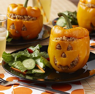 Halloween Jack-O-Lantern Stuffed Peppers