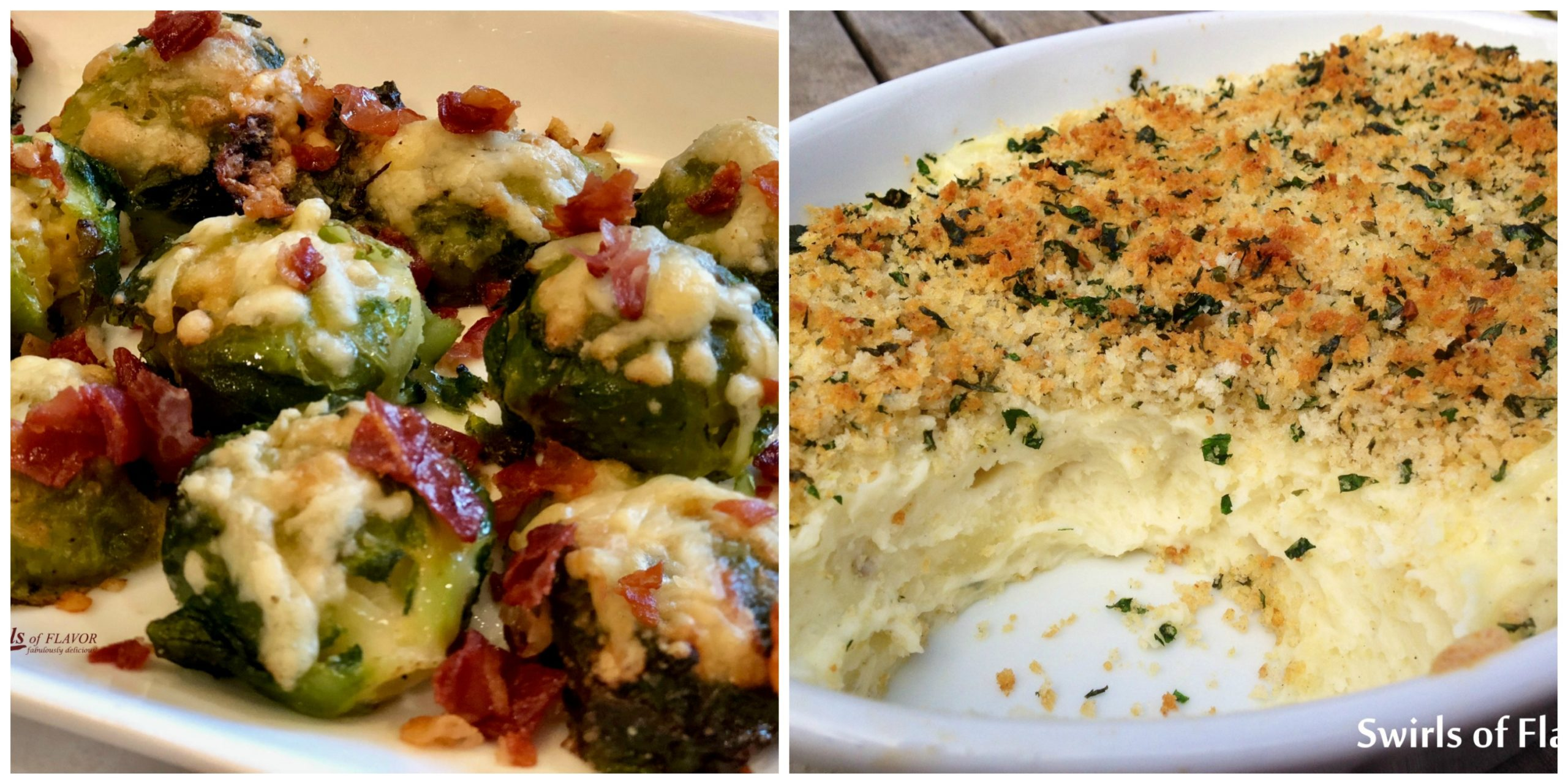 Smashed Brussels Sprouts and Panko Mashed Potatoes