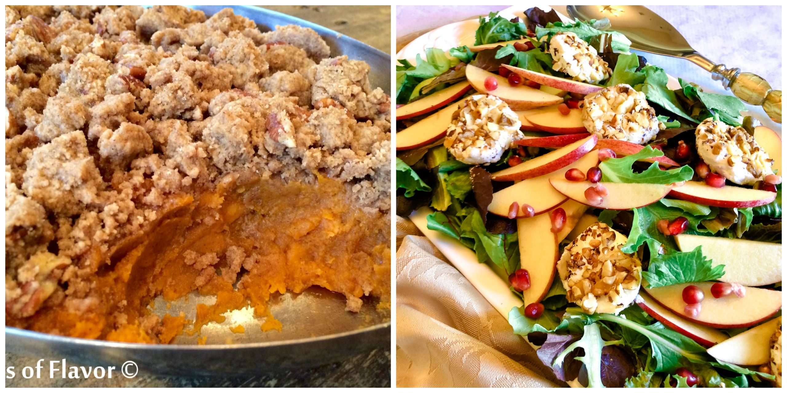 Pecan Crumb Sweet Potatoes and Pomegranate Apple Mixed Greens