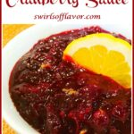 brown sugar cranberry sauce with orange and text overlay