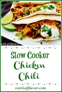 Chicken Chili in soft tortillas with lime and sour cream
