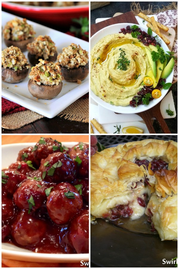 Four Thanksgiving appetizer recipes collage