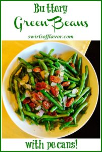 green beans with pecans and text overlay