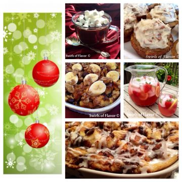 Best ever holiday recipes for a festive Christmas brunch! Hot chocolate, bread pudding and banana muffins will make your Christmas breakfast fabulous!