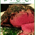prime rib with slices and text overlay