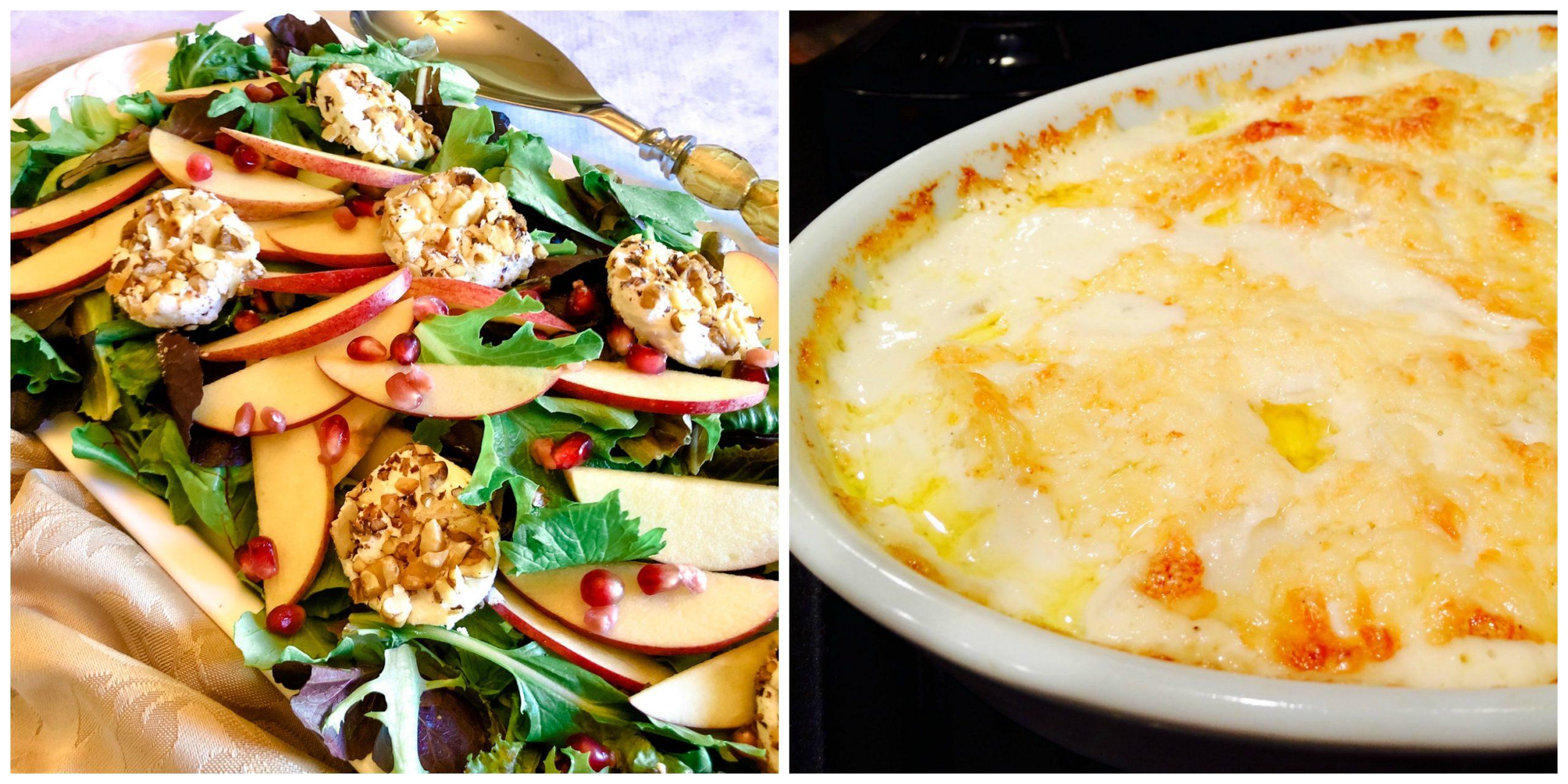 Mixed Greens Salad and Potatoes Au Gratin