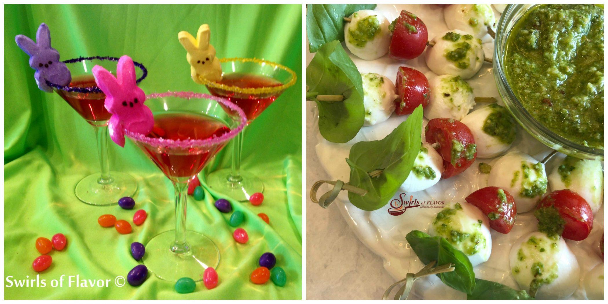 Peep Martinis and Caprese skewers