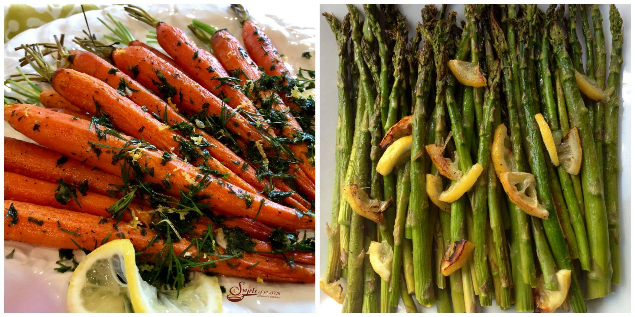 Roasted Carrots and Lemon Asparagus