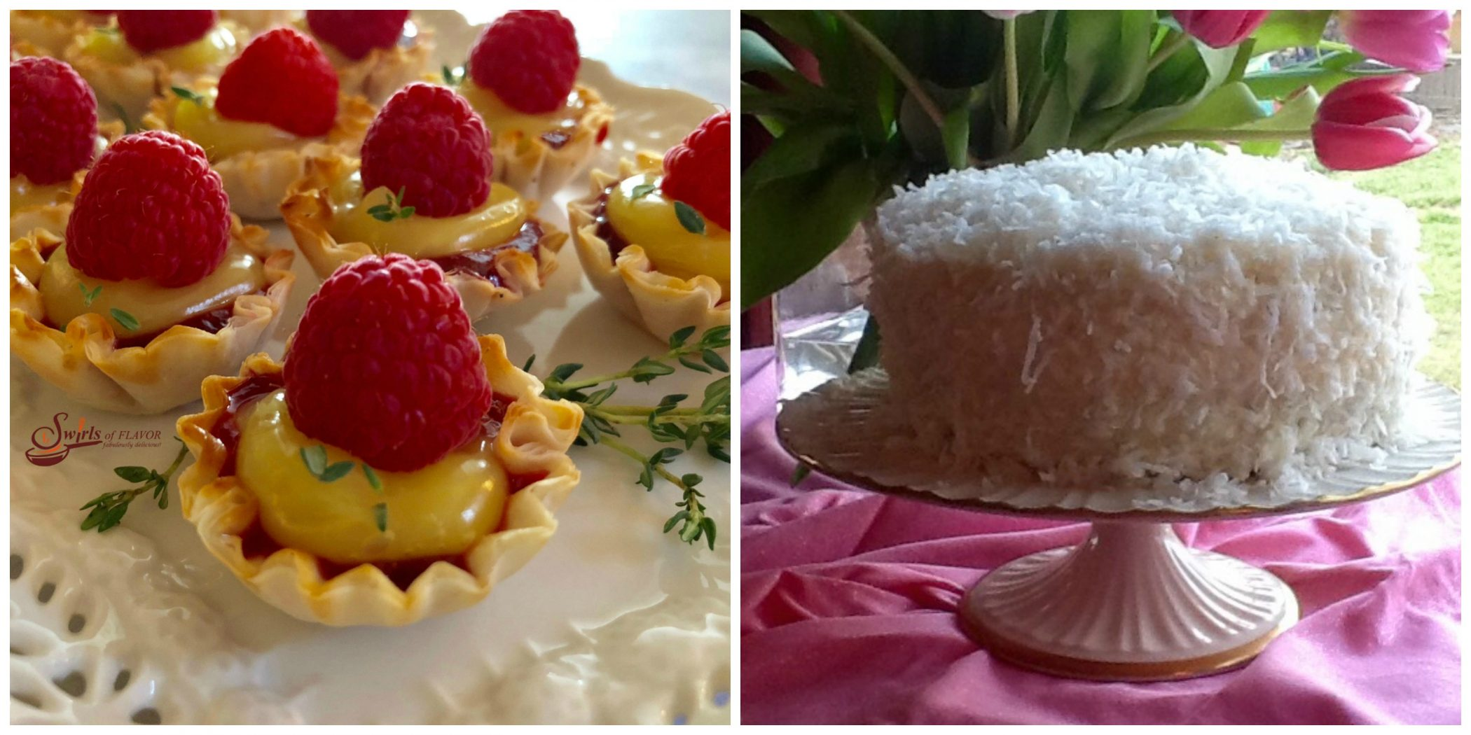 Raspberry Lemon Tartlets and Coconut Layer Cake