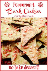 pieces of peppermint bark cookies with text overlay