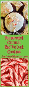 The red velvet cupcake has just become a cookie! Peppermint Crunch Red Velvet Cookie brings a peppermint sweetness to the holidays! cookies   red velvet   peppermnt   baking   holiday cookies   Christmas