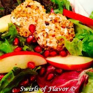 Pomegranate Apple Mixed Greens With Walnut-Crusted Goat Cheese