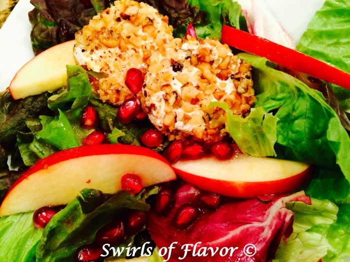 Pomegranate Apple Salad WIth Walnut Crusted Goat Cheese