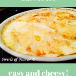 potatoes in casserole dish with text overlay