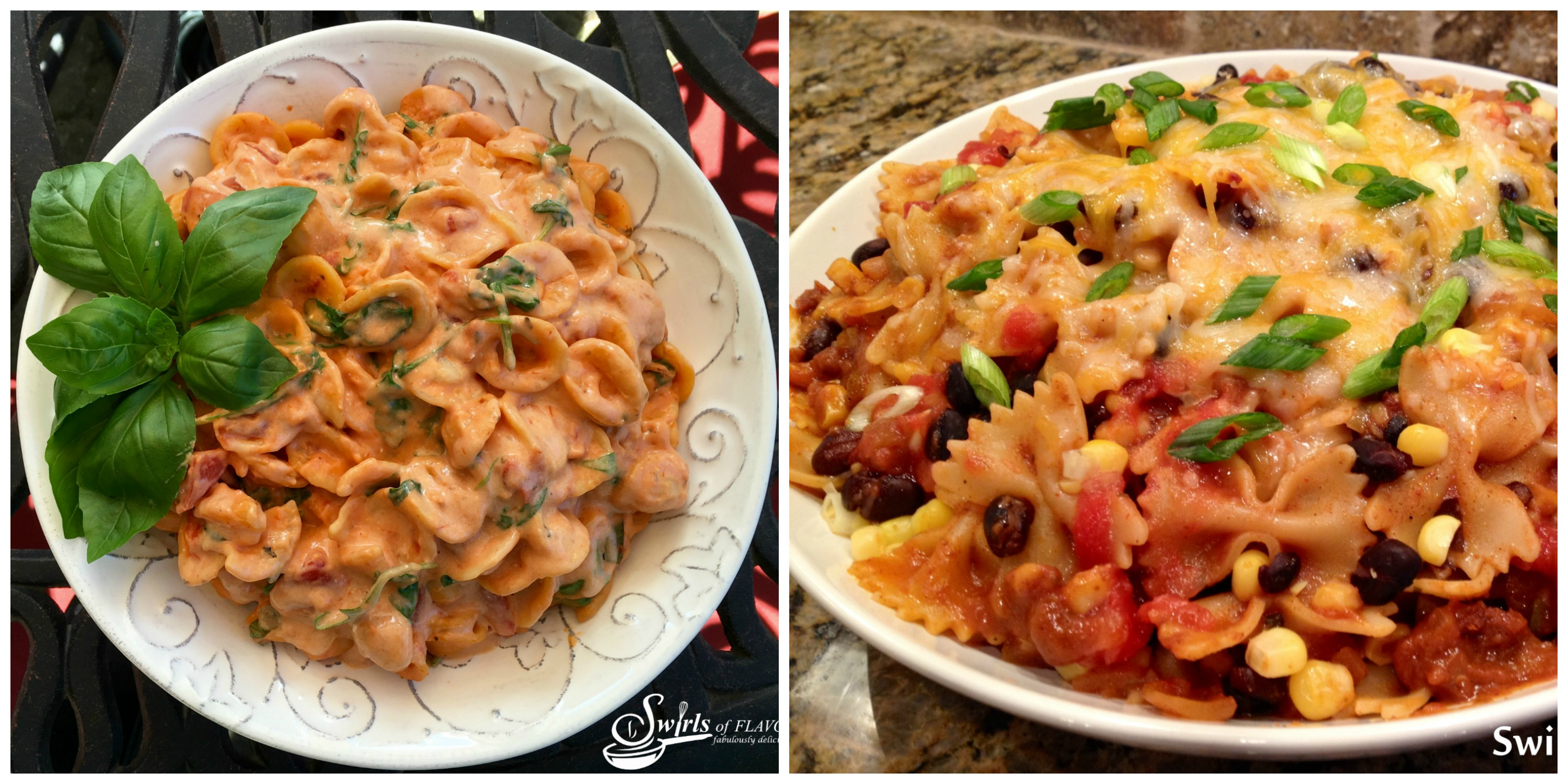 Creamy Tomato Pasta and Mexicali Pasta