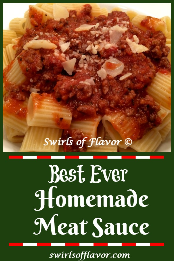 Best Ever Meat Sauce is a homemade pasta sauce that is ready in just 30 minutes and bursting with flavor. This easy meat sauce recipe is quick enough for a weeknight dinner and impressive enough for entertaining. #meatsauce #pastasauce #spaghettisauce #tomatosauce #gravy #pasta #easyrecipe #dinner #Italian #groundbeef #swirlsofflavor