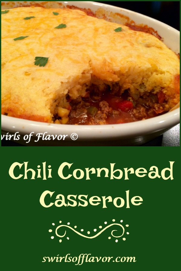 Chili Cornbread Bake is an easy recipe that will certainly become a family favorite. A saucy homemade chili is smothered with a cheesy creamy cornbread topping and baked until hot, bubbly and golden! The perfect comfort food dinner on a chilly evening.#chili #homemadechili #cornbread #bake #casserole #familyfavorite #comfortfood #easyrecipe #dinner #swirlsofflavor